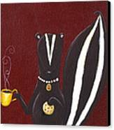 Skunk With Coffee Canvas Print by Christy Beckwith