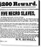 Slave Family And Children Escape - Reward Poster - 1847 Canvas Print by Daniel Hagerman