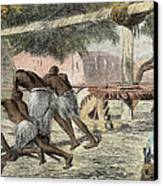 Slaves Irrigating By Water-wheel Canvas Print by English School