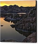Smoky Sunset On Watson Lake Canvas Print by Dave Dilli