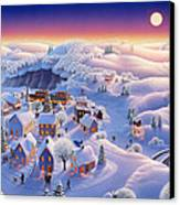 Snow Covered Village Canvas Print by Robin Moline