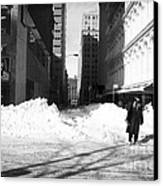 Snow On Broadway 1990s Canvas Print by John Rizzuto