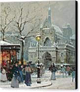 Snow Scene In Paris Canvas Print by Eugene Galien-Laloue
