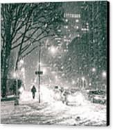 Snow Swirls At Night In New York City Canvas Print by Vivienne Gucwa
