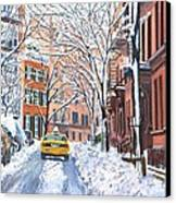 Snow West Village New York City Canvas Print by Anthony Butera