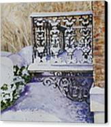 Snowy Ironwork Canvas Print by Patsy Sharpe