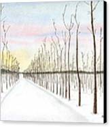 Snowy Lane Canvas Print by Arlene Crafton