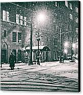 Snowy Winter Night - Sutton Place - New York City Canvas Print by Vivienne Gucwa