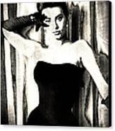 Sophia Loren - Black And White Canvas Print by Absinthe Art By Michelle LeAnn Scott