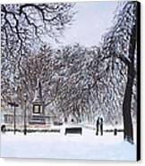 Southampton Watts Park In The Snow Canvas Print by Martin Davey