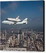 Space Shuttle Endeavour Over Houston Texas Canvas Print by Movie Poster Prints