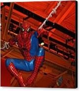 Spiderman Swinging Through The Air Canvas Print by John Telfer