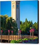 Spokane Clocktower Canvas Print by Inge Johnsson