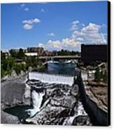 Spokane Falls And Riverfront Canvas Print by Michelle Calkins