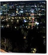 Spokane Washington Skyline At Night Canvas Print by Daniel Hagerman