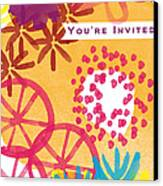 Spring Floral Invitation- Greeting Card Canvas Print by Linda Woods