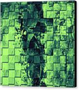 Square Mania - Old Man - Limeblue Canvas Print by Emerico Imre Toth