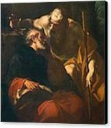 St. Benedict And A Hermit Canvas Print by Domenico Maria Viani
