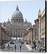 St Peter Basilica Viewed From Via Della Conciliazione. Rome Canvas Print by Bernard Jaubert