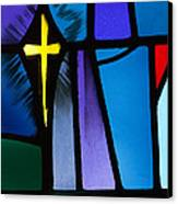 Stained Glass Cross Canvas Print by Karen Lee Ensley