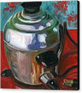 Stainless Steel Cooker Of Eggs Canvas Print by Jennie Traill Schaeffer