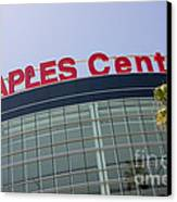 Staples Center Sign In Los Angeles California Canvas Print by Paul Velgos