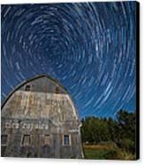 Star Trails Over Barn Canvas Print by Paul Freidlund