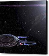 Star Trek - Ambush - Klingon Bird Of Prey - Uss Enterprise D Canvas Print by Jason Politte