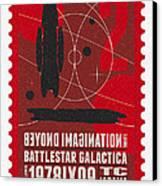 Starschips 02-poststamp - Battlestar Galactica Canvas Print by Chungkong Art
