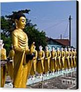 Statue Of Buddha And Disciples Are Alms Round Canvas Print by Tosporn Preede