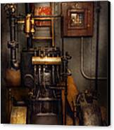Steampunk - Back In The Engine Room Canvas Print by Mike Savad