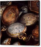 Steampunk - Clock - Time Worn Canvas Print by Mike Savad