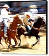 Steer Wrestling Canvas Print by Bill Keiran