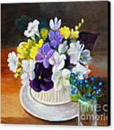 Still Life Freesias And Pansies Canvas Print by Sherrill McCall