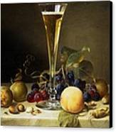 Still Life With A Glass Of Champagne Canvas Print by Johann Wilhelm Preyer