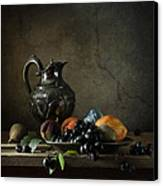 Still Life With A Jug And Fruit Canvas Print by Diana Amelina