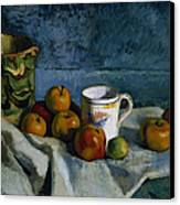 Still Life With Apples Cup And Pitcher Canvas Print by Paul Cezanne