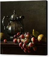 Still Life With Pewter Teapot And Grapes And Pears  Canvas Print by Diana Amelina