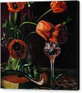 Still Life With Tulips - Drawing Canvas Print by Natasha Denger