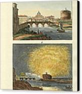 Strange Buildings In Rome Canvas Print by Splendid Art Prints
