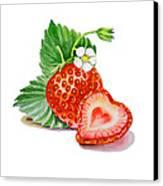 Strawberry Heart Canvas Print by Irina Sztukowski