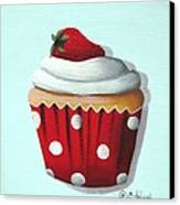 Strawberry Shortcake Cupcake Canvas Print by Catherine Holman