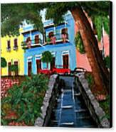 Street Hill In Old San Juan Canvas Print by Luis F Rodriguez
