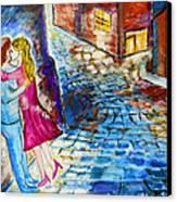 Street Kiss By Night  Canvas Print by Ramona Matei