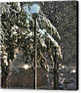 Street Lamp In The Snow Canvas Print by Benanne Stiens
