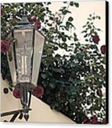 Streetlight Surrounded By Roses Canvas Print by Aiolos Greek Collections