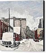 Streets Of Montreal Pointe St. Charles Canvas Print by Reb Frost