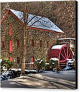 Sudbury Wintery Grist Mill Canvas Print by Mark Valentine