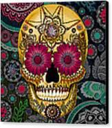 Sugar Skull Paisley Garden - Copyrighted Canvas Print by Christopher Beikmann