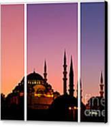 Suleymaniye Sundown Triptych 01 Canvas Print by Rick Piper Photography